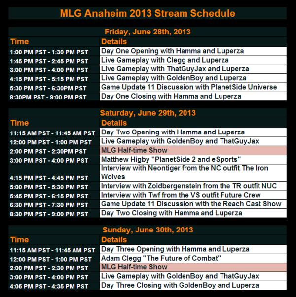 Stream Schedule
