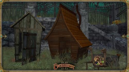 Granny's House, Rustic Outhouse, wagon, and cornucopia