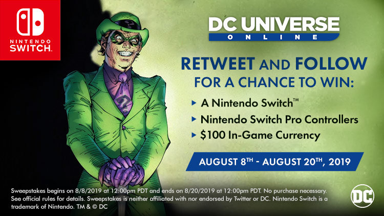 #DCUOonNintendoSwitch Sweepstakes!